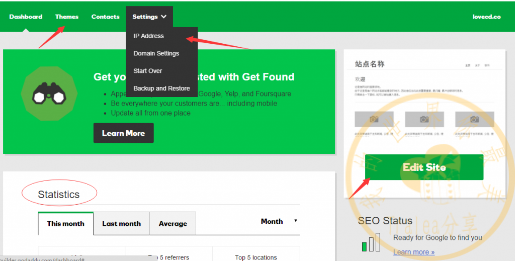 godaddy website builder 控制面板